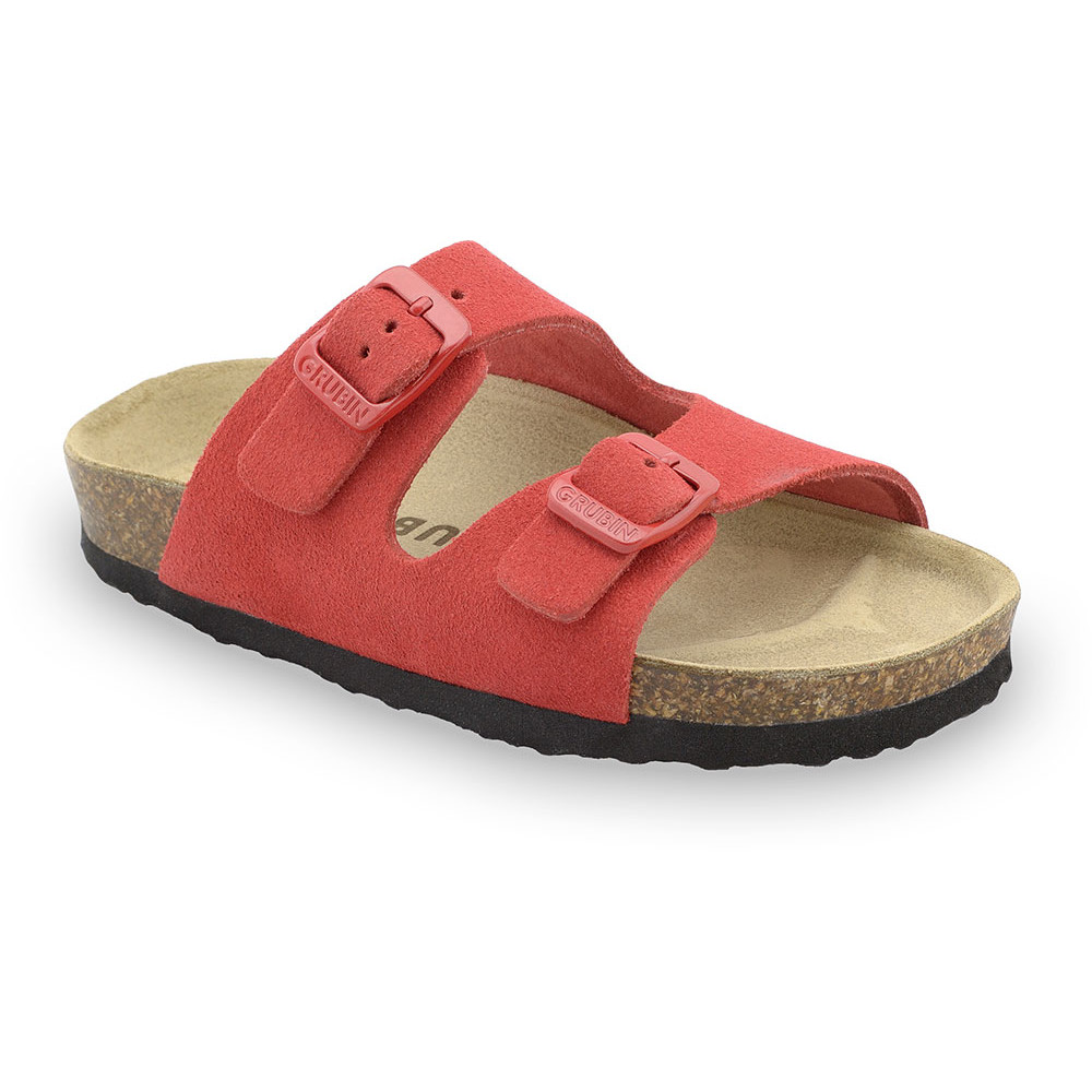 ARIZONA Kids - velor leather slippers (23-29) - red, 26