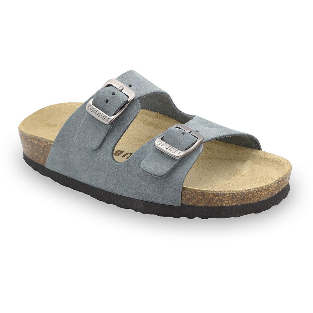ARIZONA Kids - velor leather slippers (23-29) - grey, 26