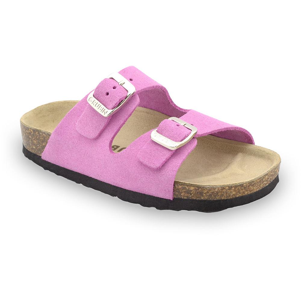 ARIZONA Kids - velor leather slippers (30-35) - pink, 35