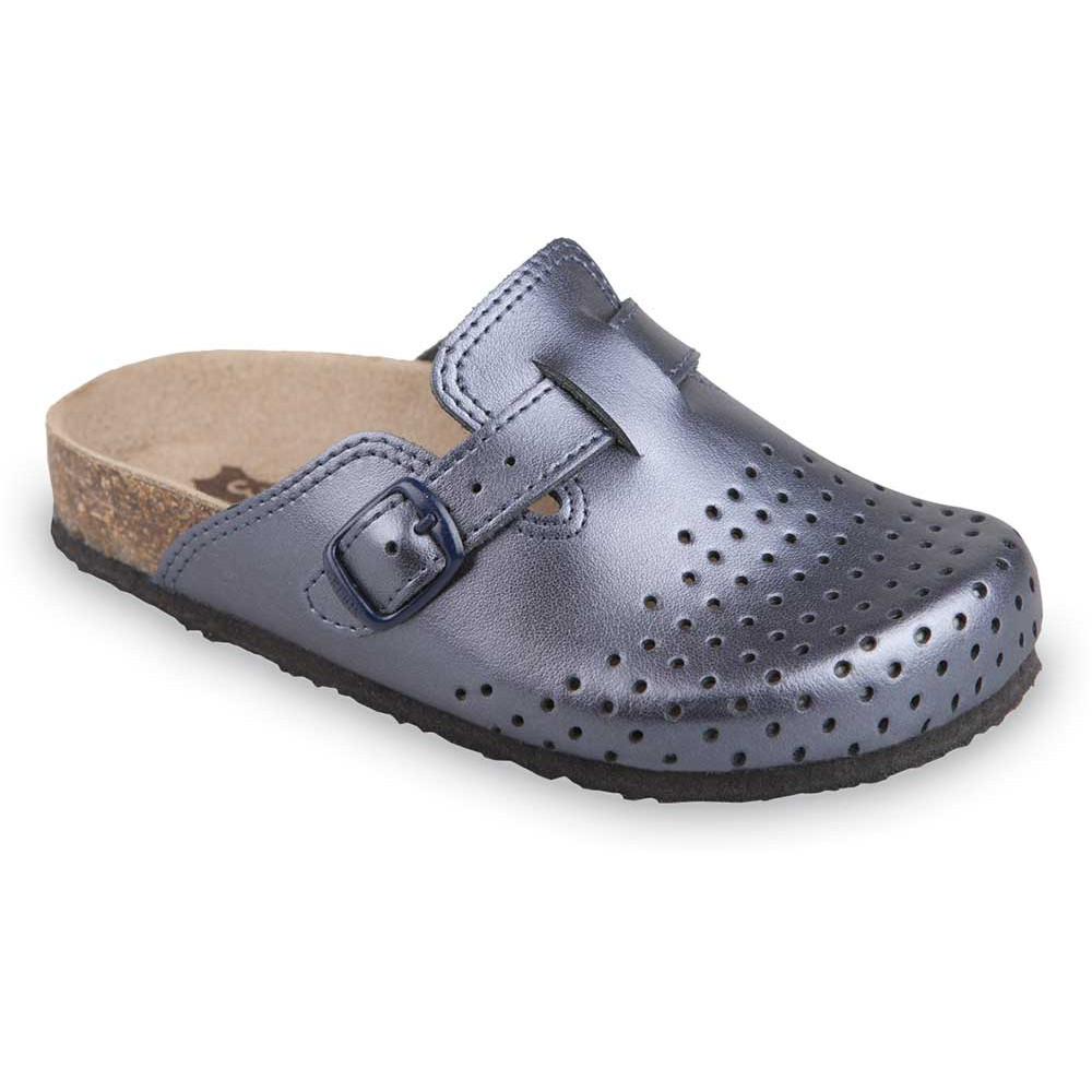 RIM Kids leather closed slippers (27-35) - blue grey, 30
