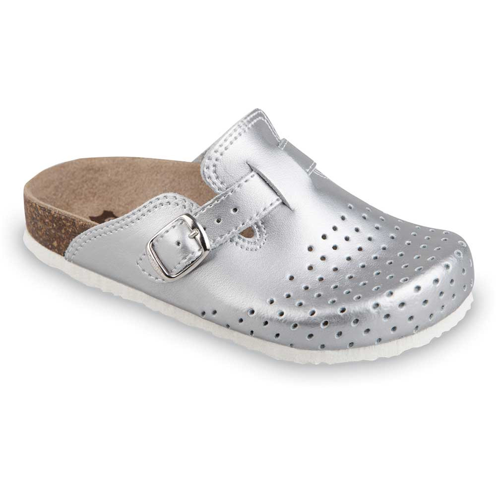 RIM Kids leather closed slippers (27-35) - silver, 27