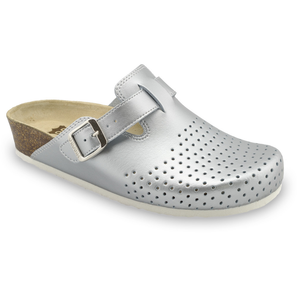 BEOGRAD Women's closed slippers - caste leather (36-42) - silver, 39