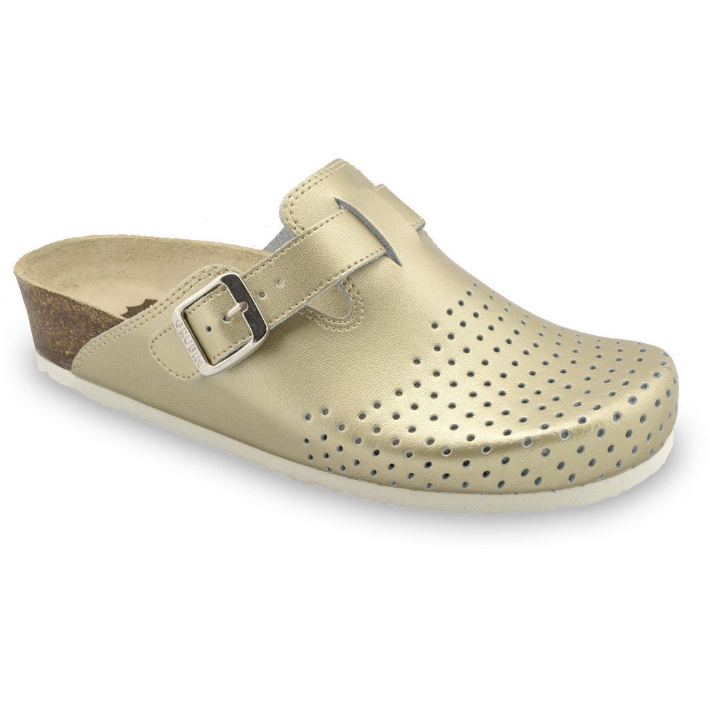 BEOGRAD Women's closed slippers - caste leather (36-42) - gold, 41