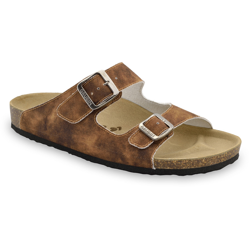 KAIRO Men's slippers - cloth (40-49) - brown with pattern, 41