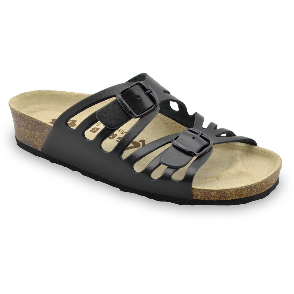 DERBY Women's slippers - leather (36-42) - black, 39