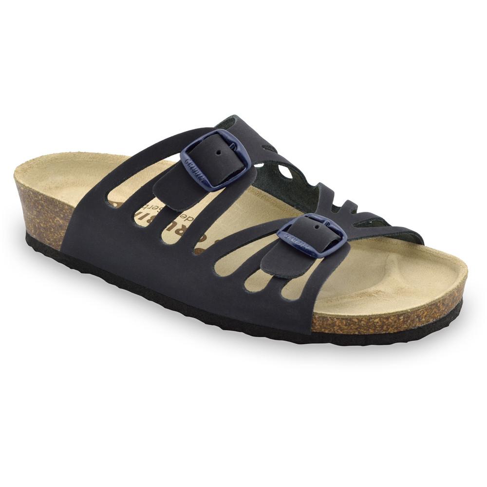 DERBY Women's slippers - leather (36-42) - blue matte, 40