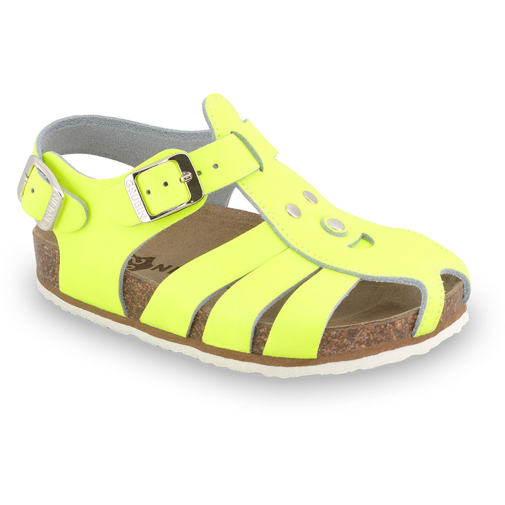 FUNK Kids sandals - leather (23-30) - yellow signal, 24