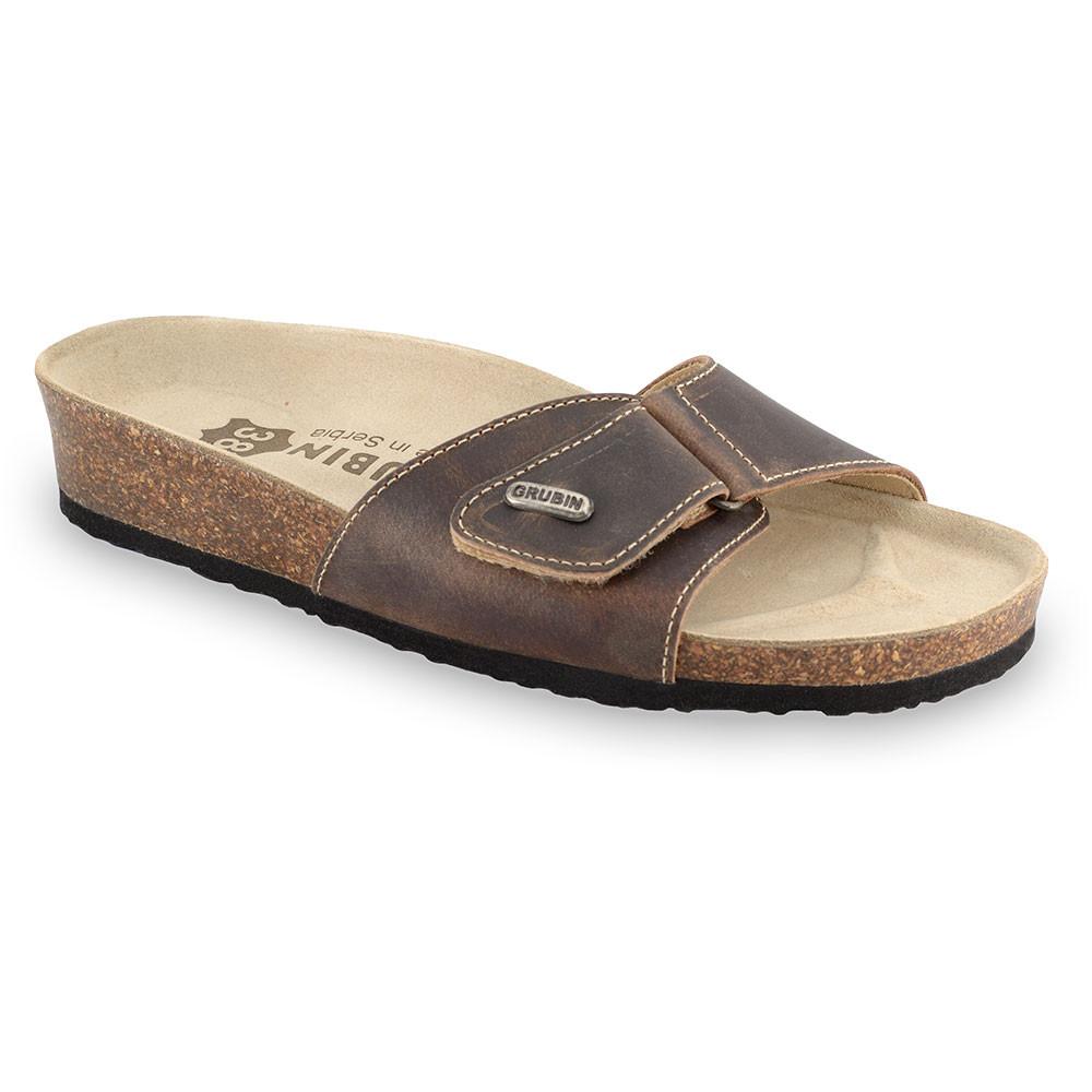 BRIGITTE Women's slippers - leather (36-42) - brown, 41