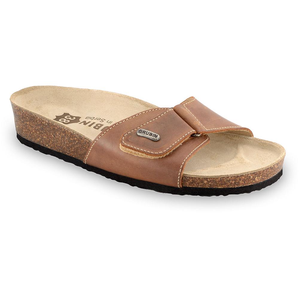 BRIGITTE Women's slippers - leather (36-42) - light brown, 38