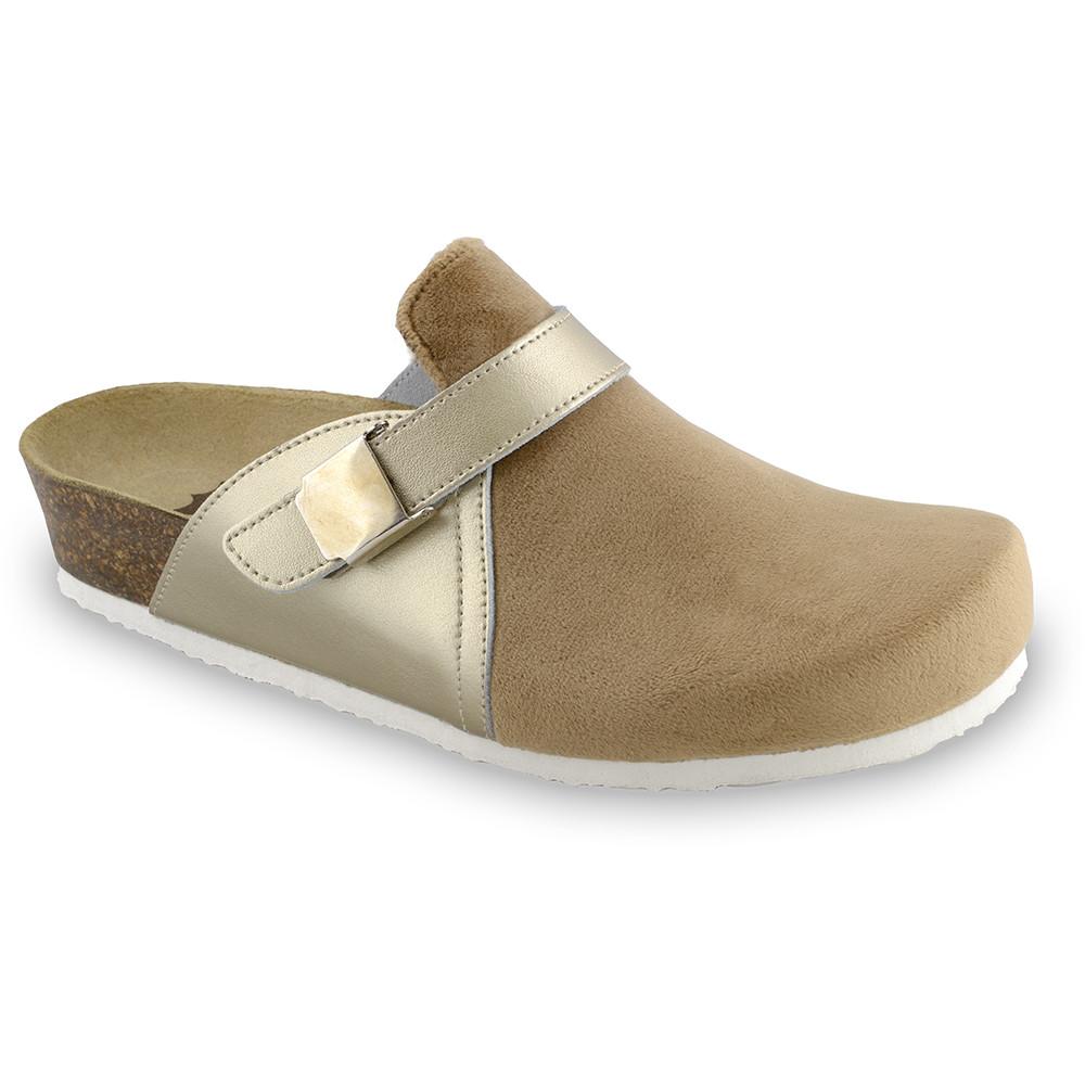 INDIO Women's closed slippers - plush (36-42) - gold, 38