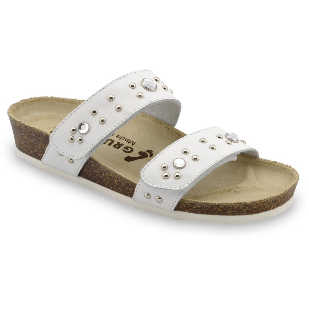 MALTA Women's slippers - leather (36-42) - white, 37