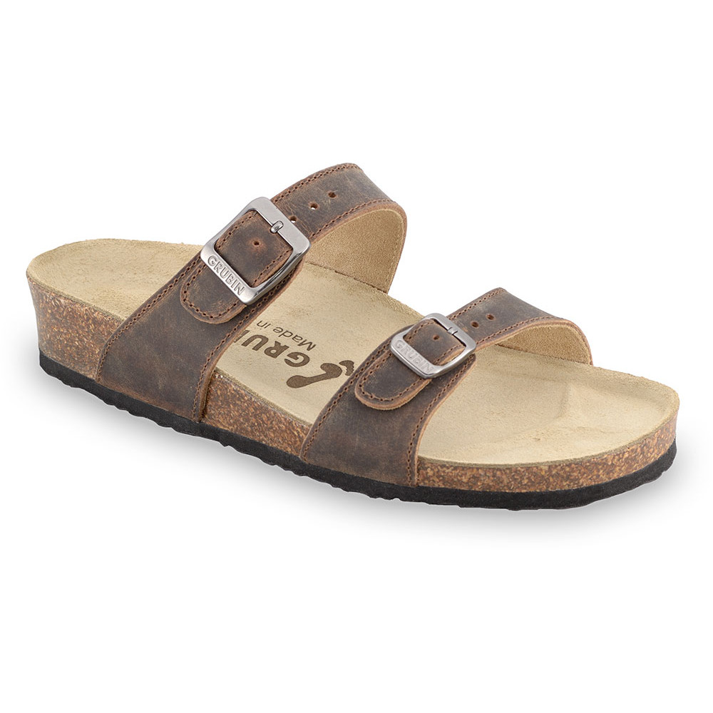 EDITH Women's slippers - leather (36-42) - brown, 37