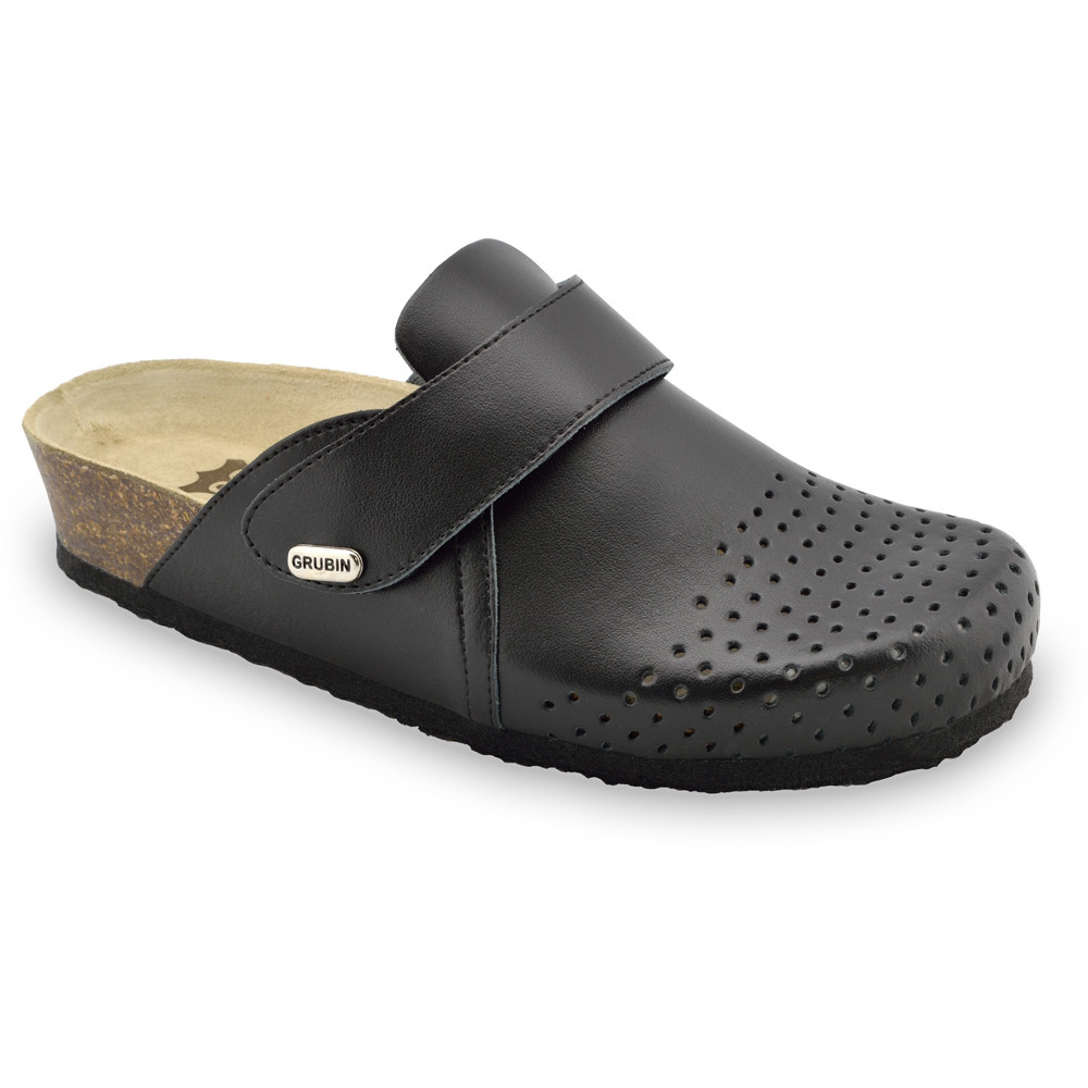 OREGON Women's closed slippers - leather (36-42) - black, 36