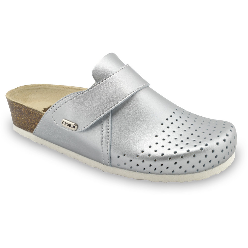 OREGON Women's closed slippers - caste leather (36-42) - silver, 39