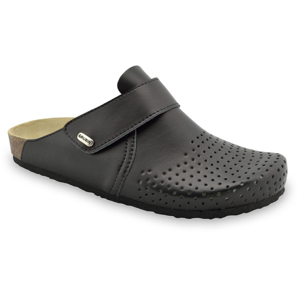 OREGON Men's closed slippers - leather (40-49) - black, 47