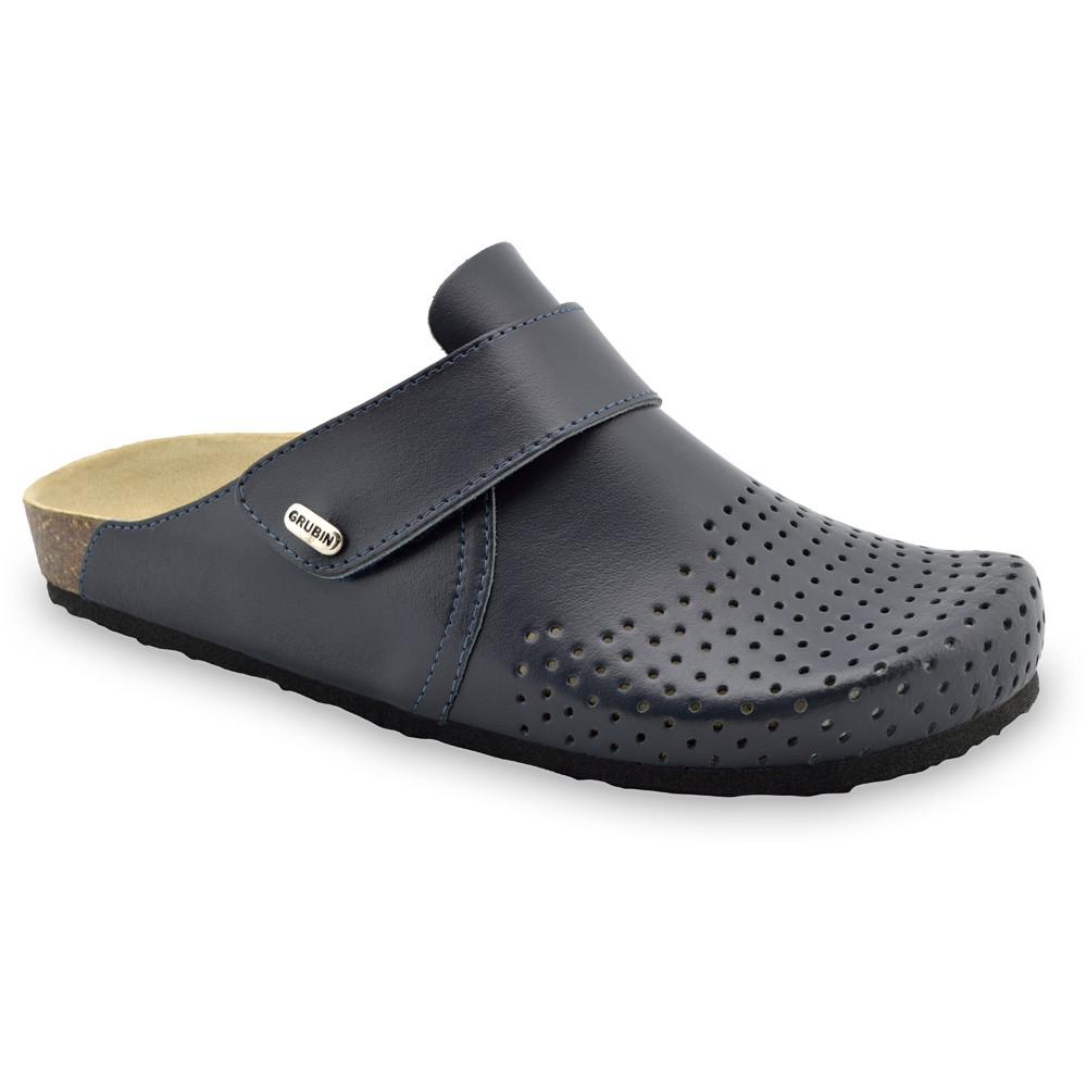 OREGON Men's closed slippers - leather (40-49) - blue matte, 44
