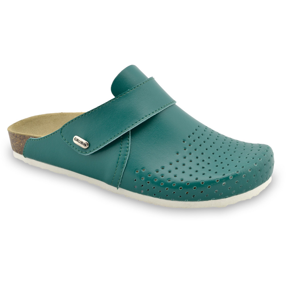 OREGON Men's closed slippers - leather (40-49) - green, 40