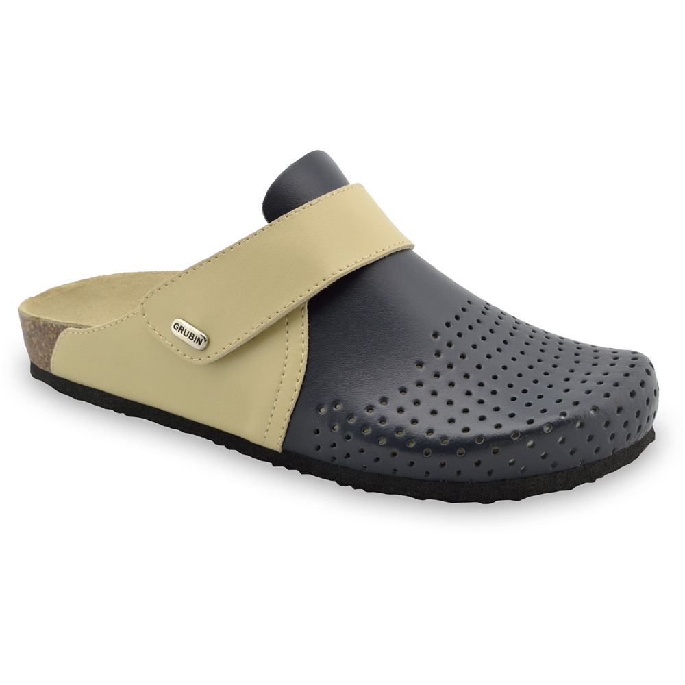 OREGON Men's closed slippers - leather (40-49) - black with pattern, 48