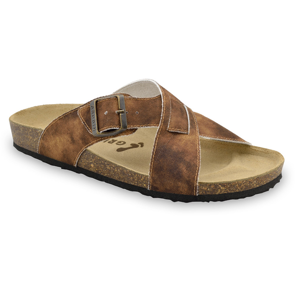 BORSALLINO Men's slippers - cloth (40-49) - brown with pattern, 46