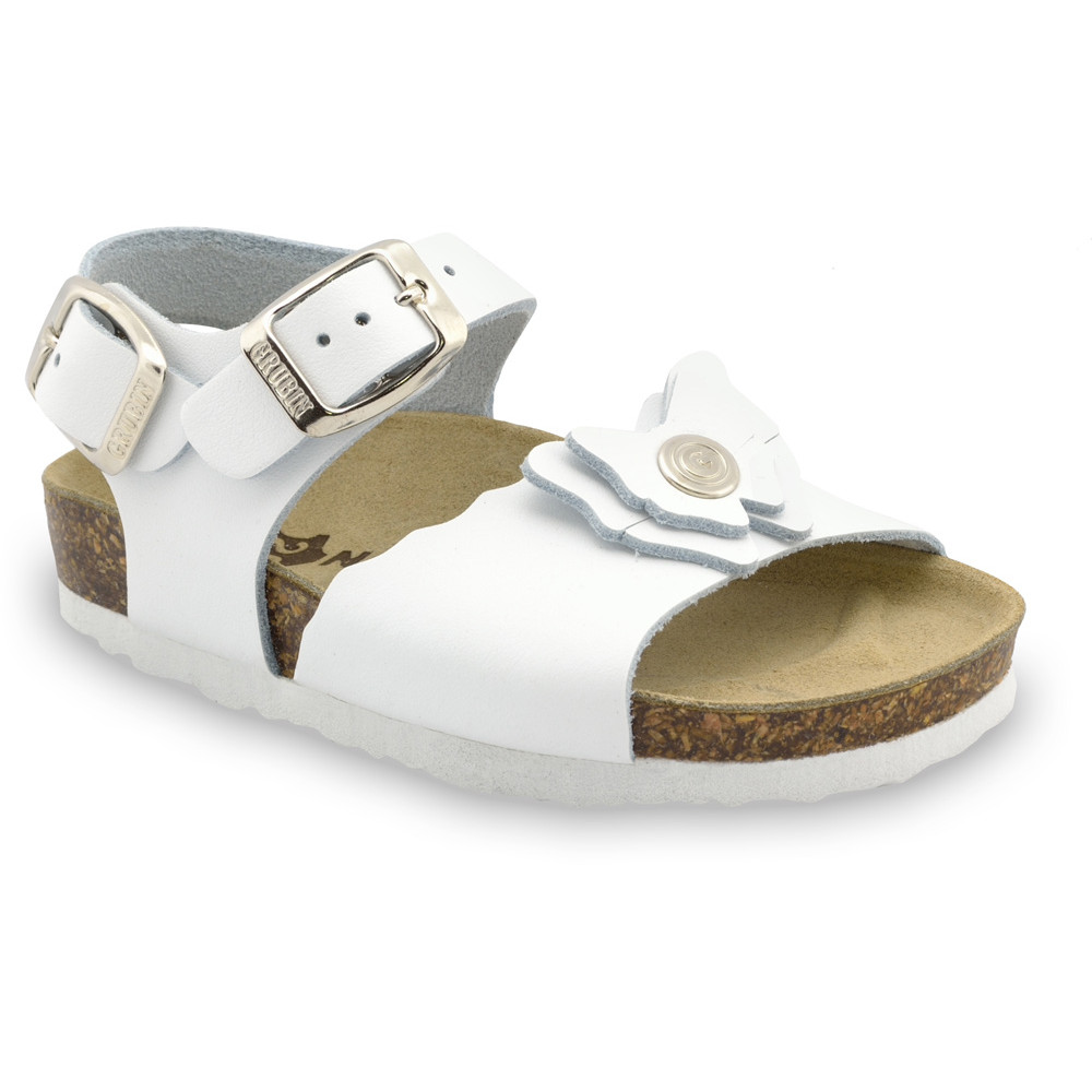 BUTTERFLY Kids sandals - leather (23-29) - white, 27