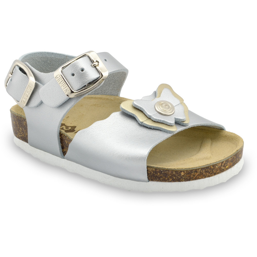 BUTTERFLY Kids sandals - leather (23-29) - silver, 25