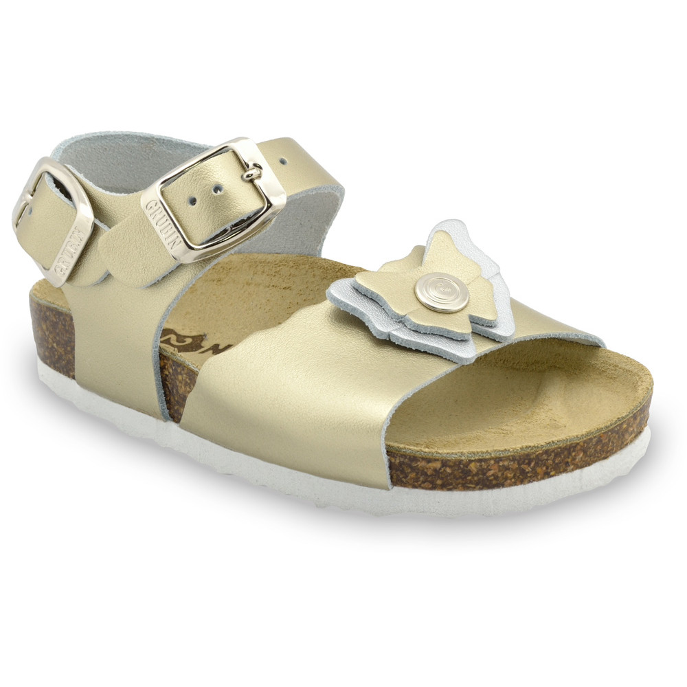 BUTTERFLY Kids sandals - leather (23-29) - gold, 25