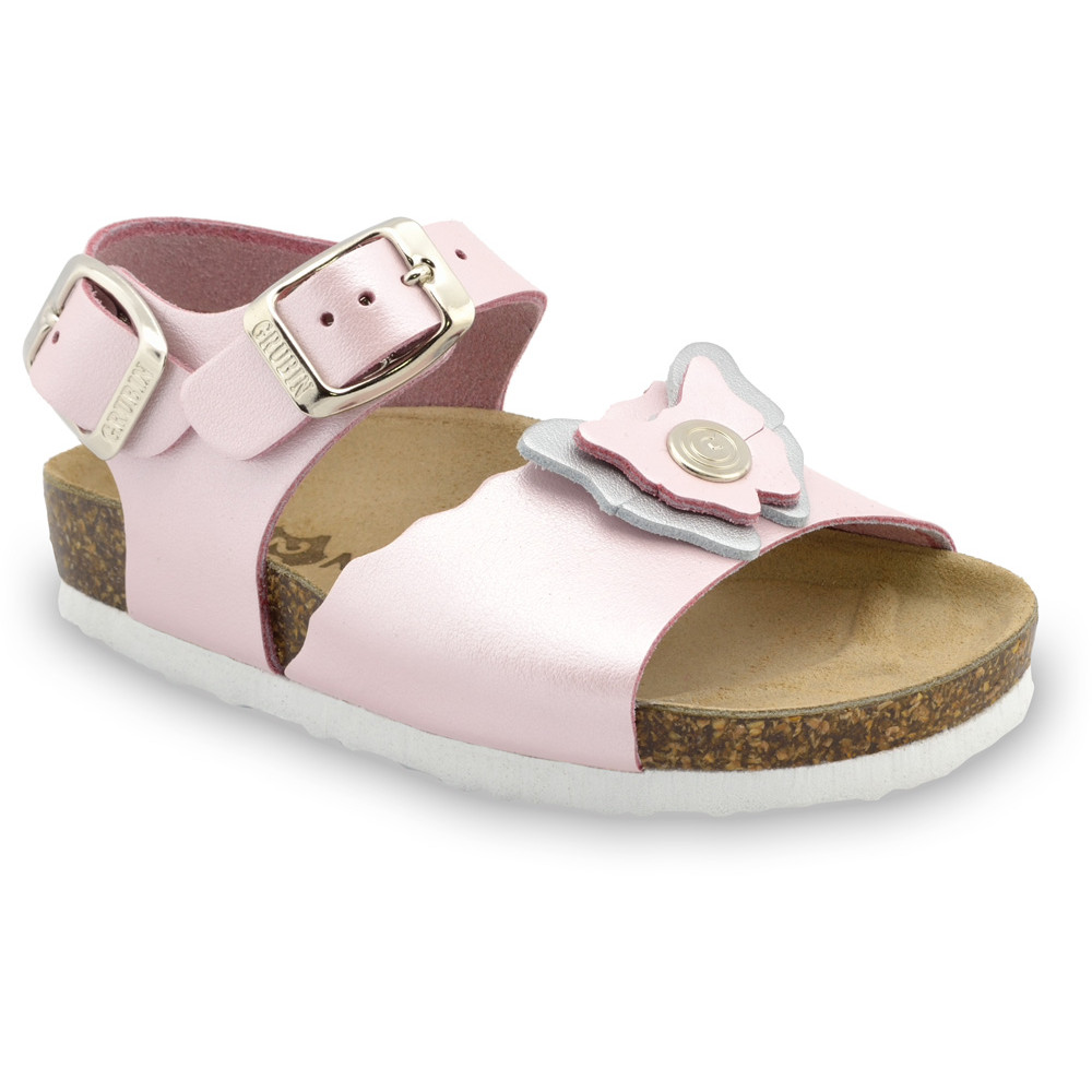 BUTTERFLY Kids sandals - leather (23-29) - light pink, 24