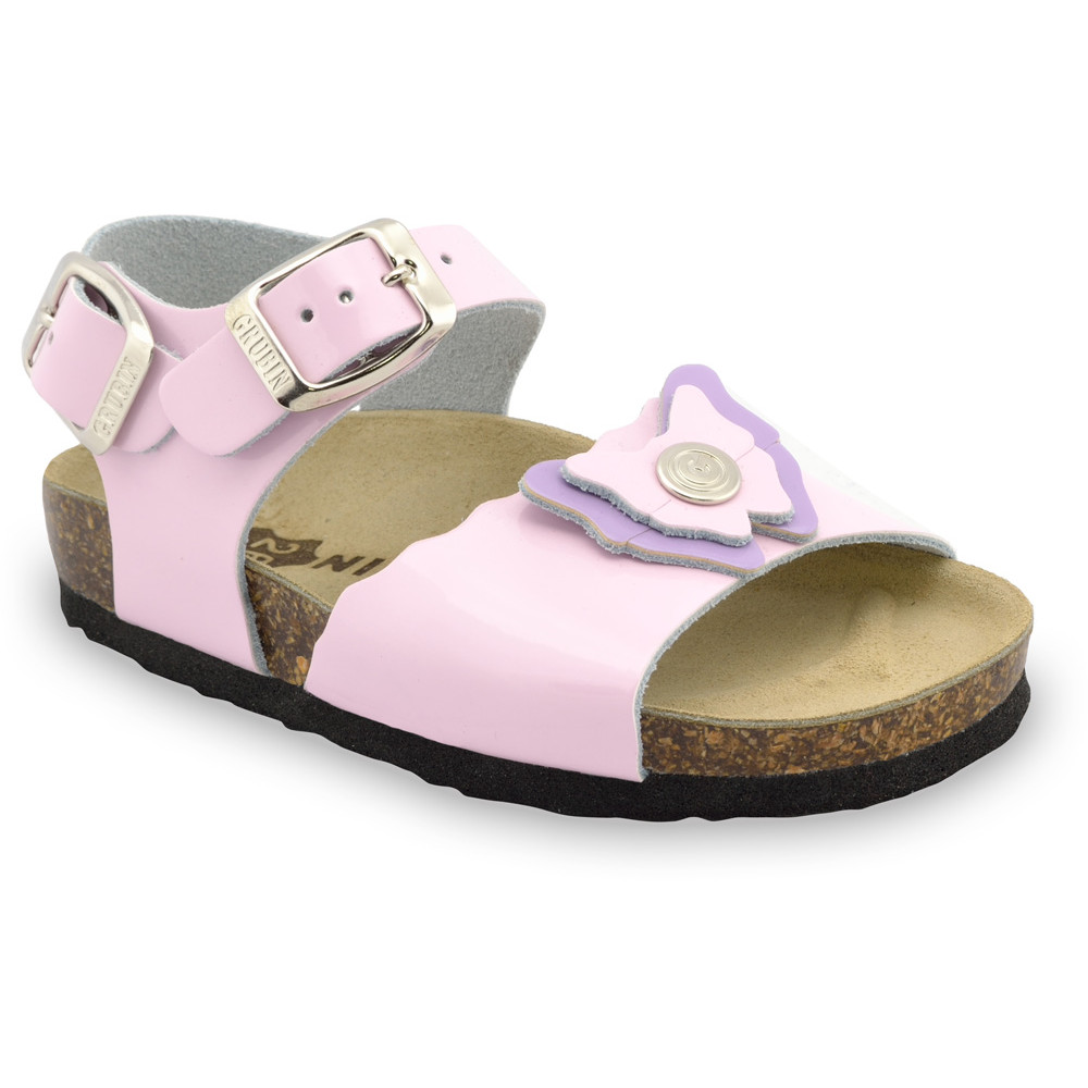 BUTTERFLY Kids sandals - leather (23-29) - light pink, 25