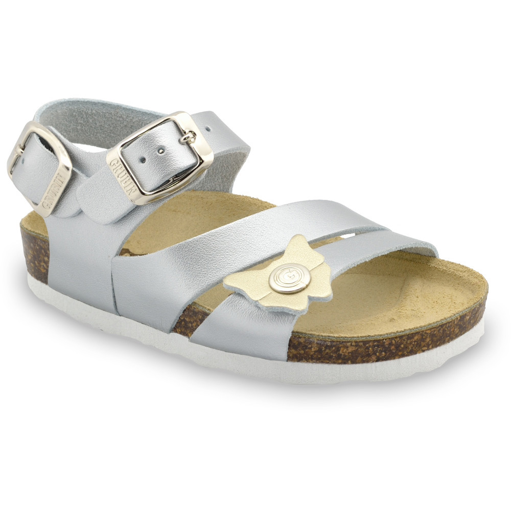 KATY Kids leather sandals (30-35) - silver, 31