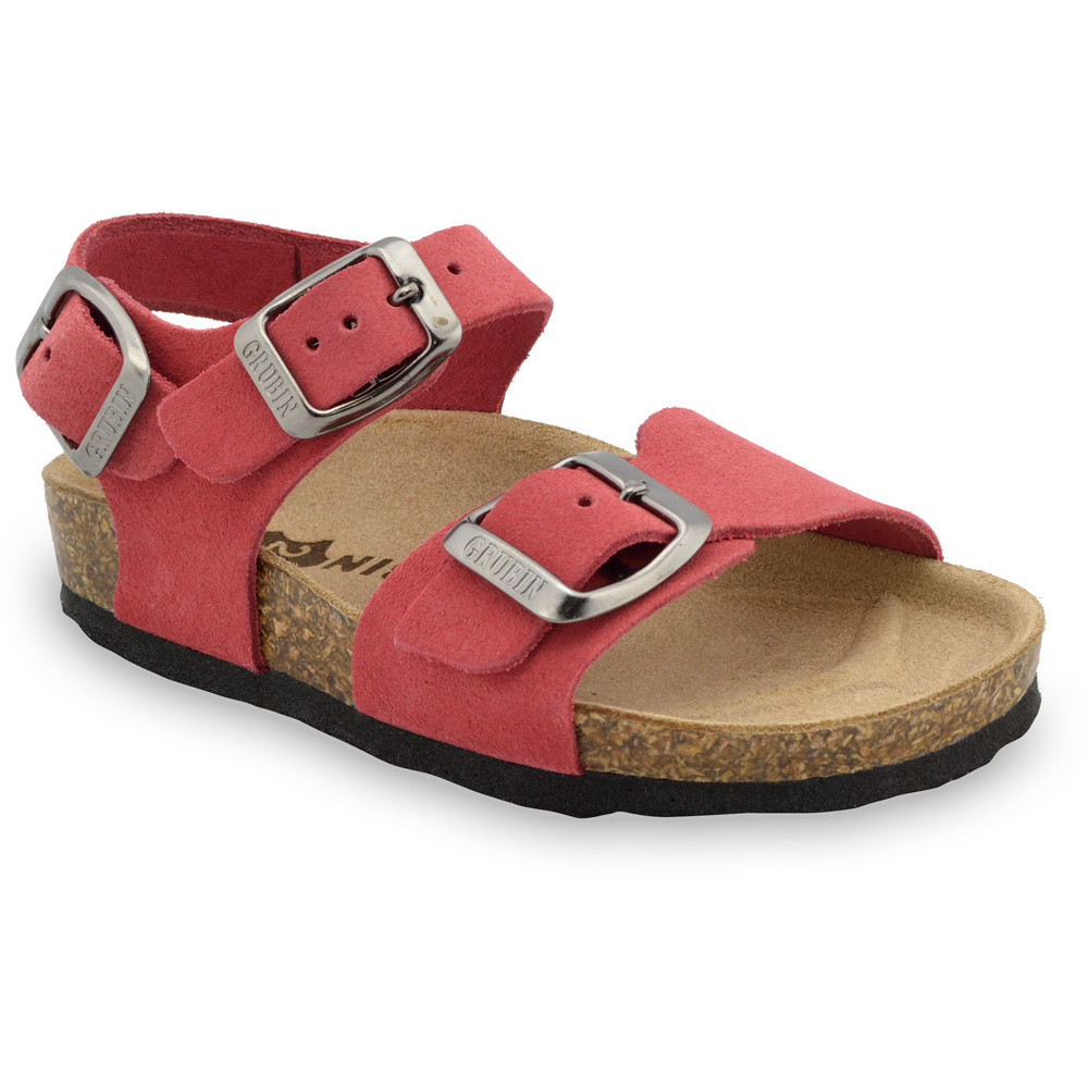 ROBY Kids - velor leather sandals (23-29) - red, 28
