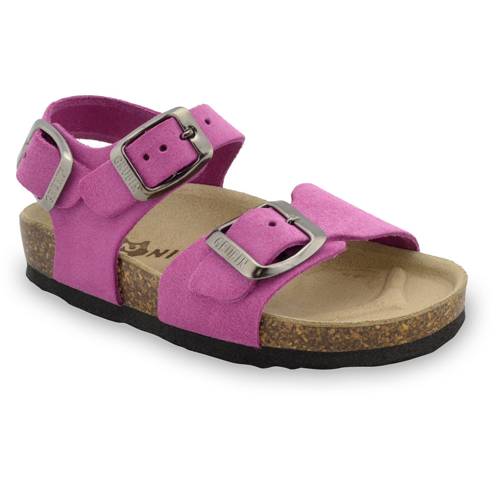 ROBY Kids - velor leather sandals (23-29) - pink, 27