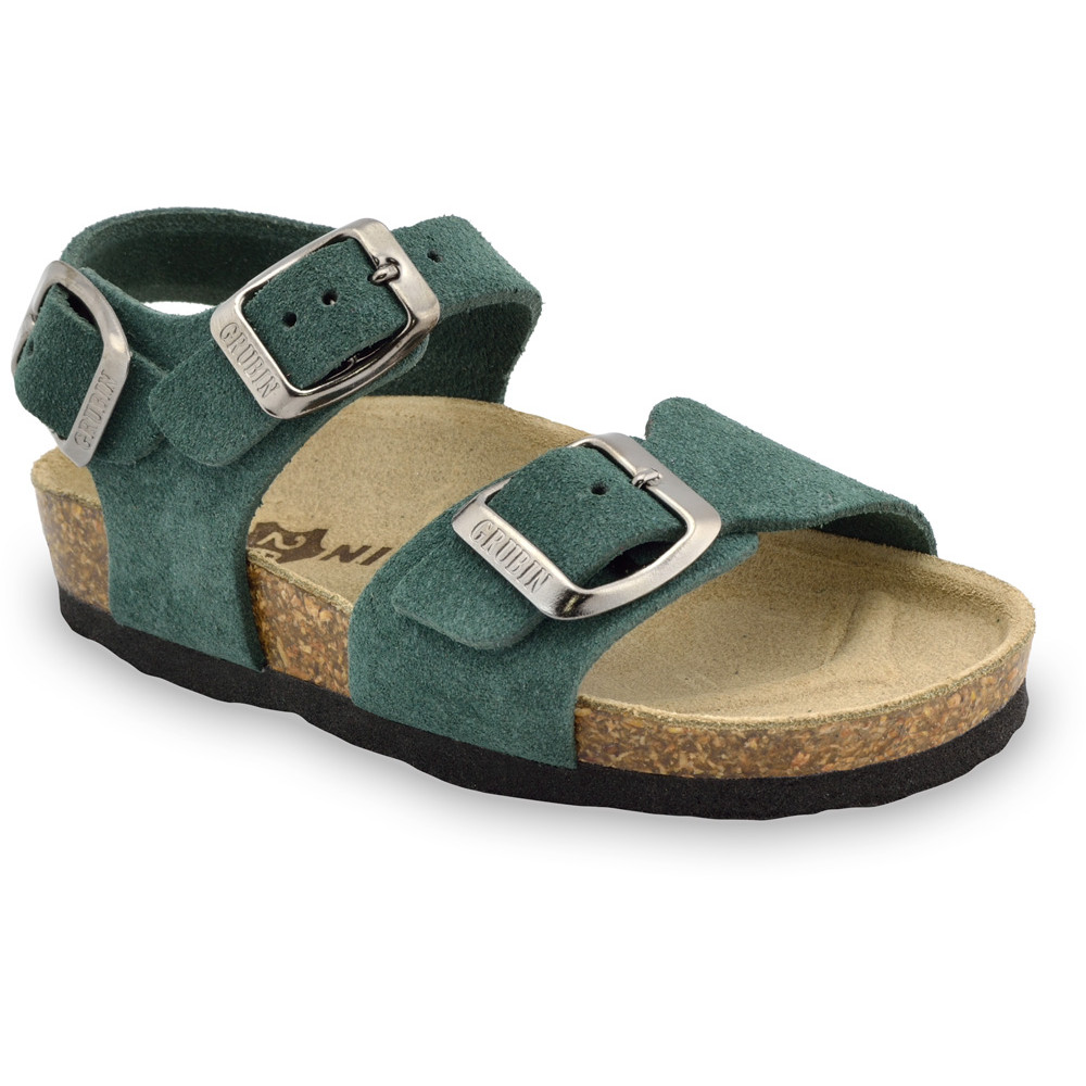 ROBY Kids - velor leather sandals (23-29) - green, 25