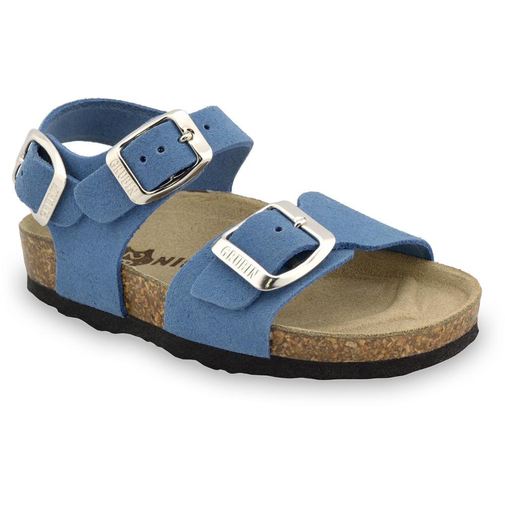 ROBY Kids - velor leather sandals (30-35) - light blue, 30
