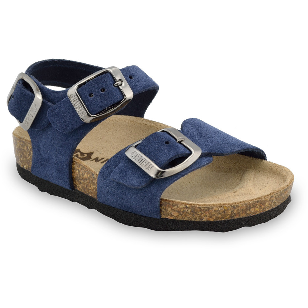 ROBY Kids - velor leather sandals (30-35) - blue, 31