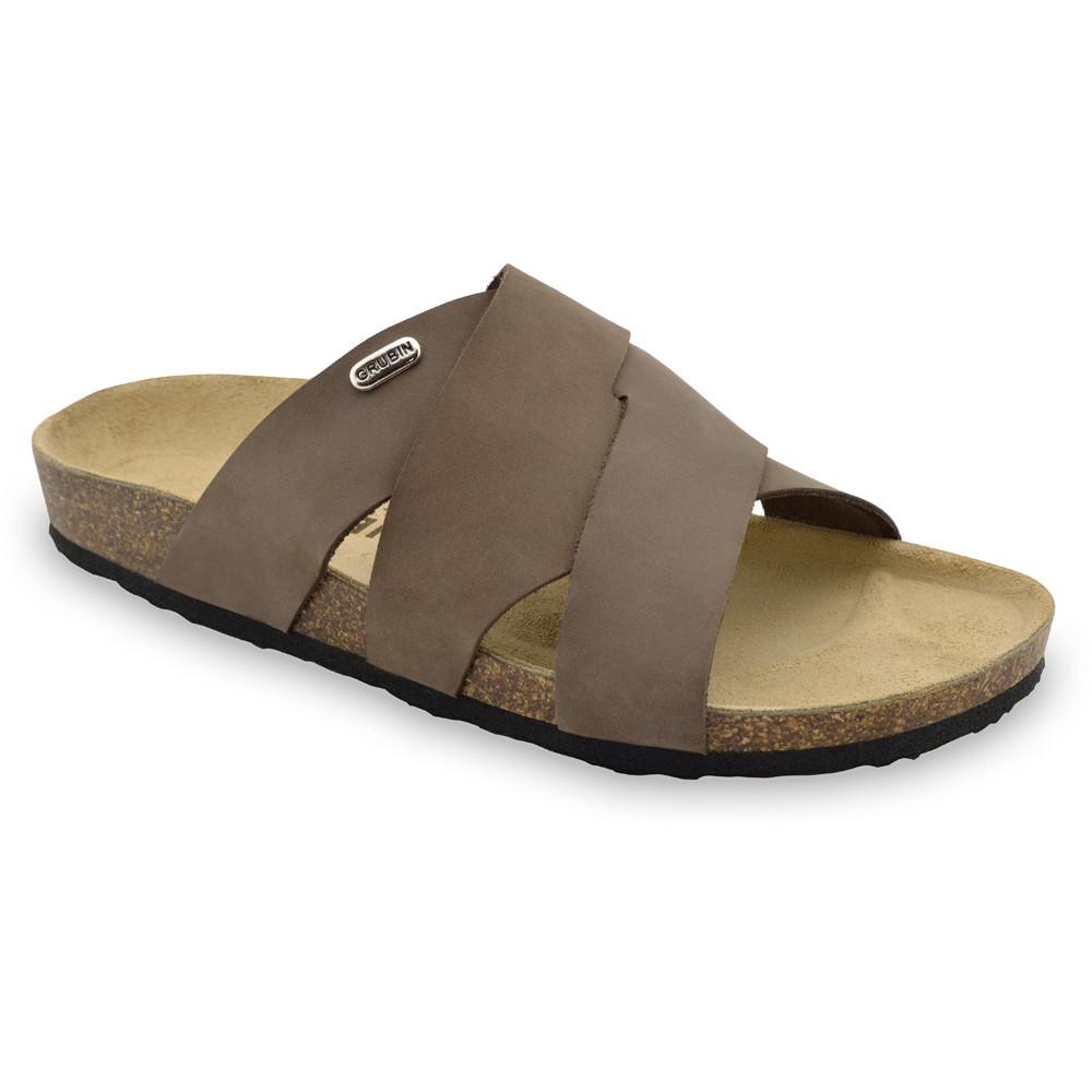 MORANDI Men's slippers - nubuk leather (40-49) - brown, 48