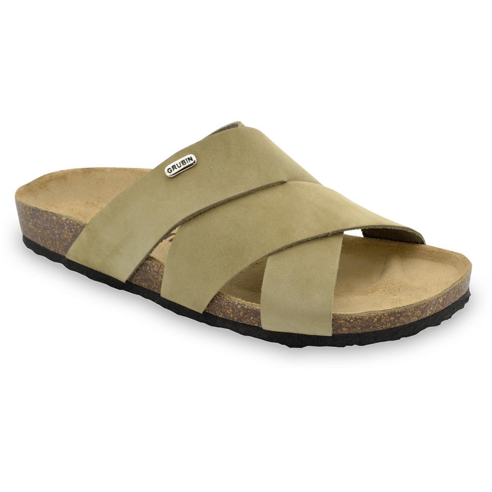 MORANDI Men's slippers - nubuk leather (40-49) - light brown, 46