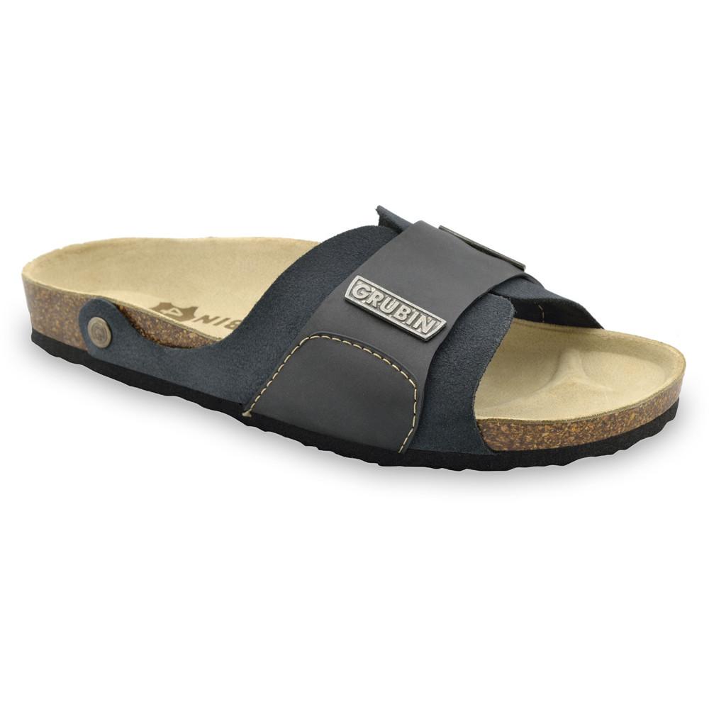 DARKO Men's slippers - leather (40-49) - dark grey, 47