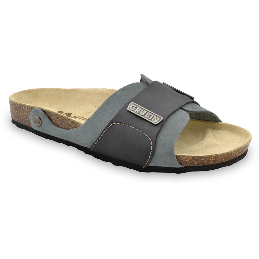 DARKO Men's slippers - leather (40-49) - blue grey, 42