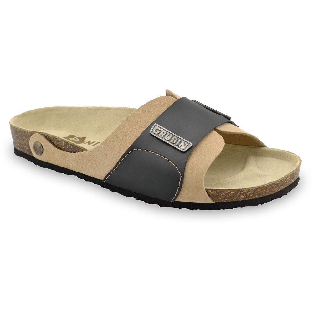 DARKO Men's slippers - leather (40-49) - cream, 42
