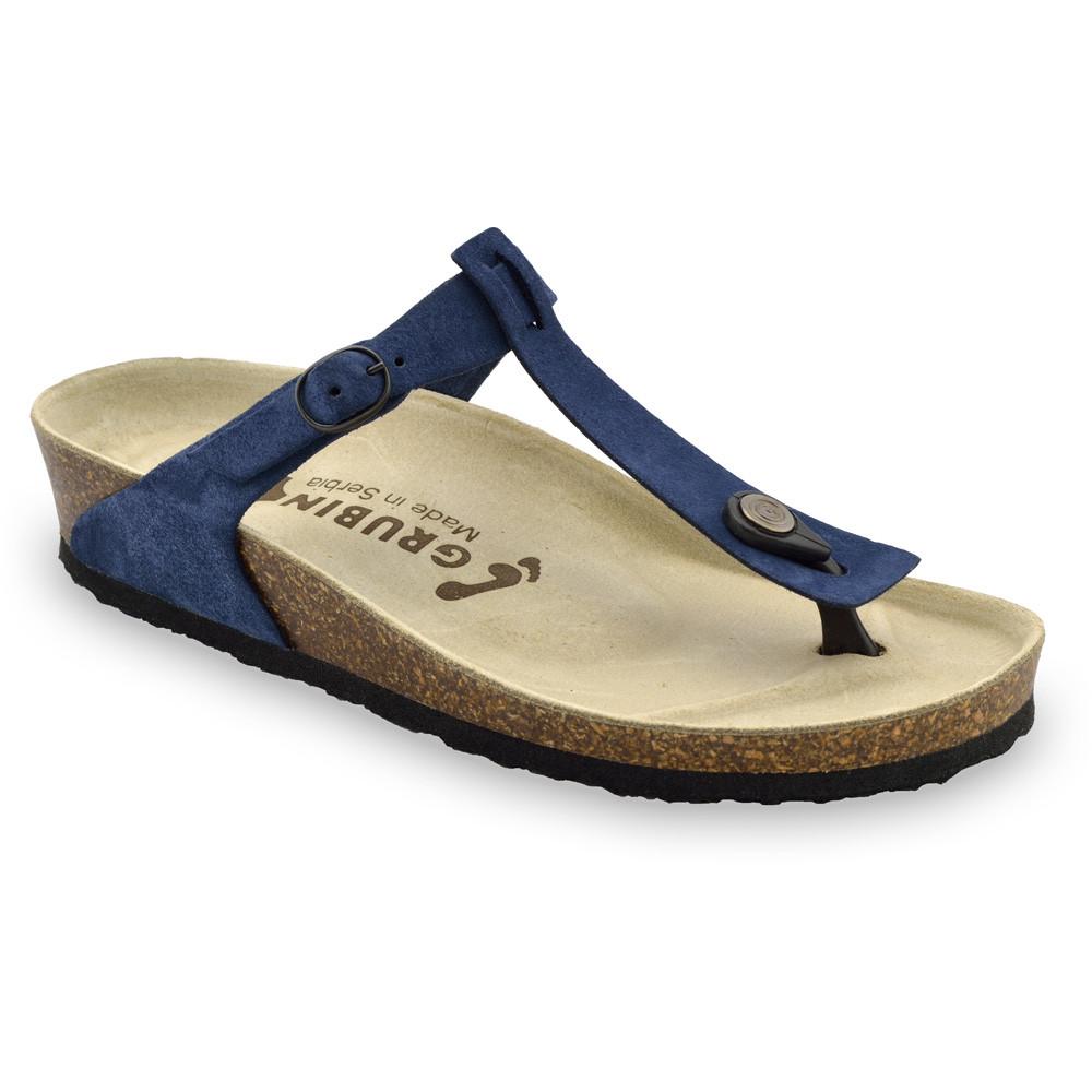 MICADO Women's leather flip flops (36-42) - blue, 39