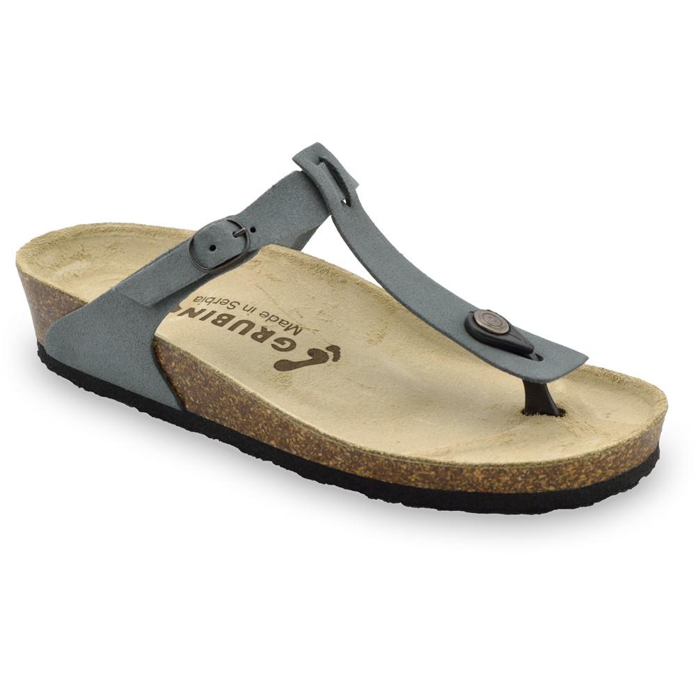 MICADO Women's leather flip flops (36-42) - dark grey, 41