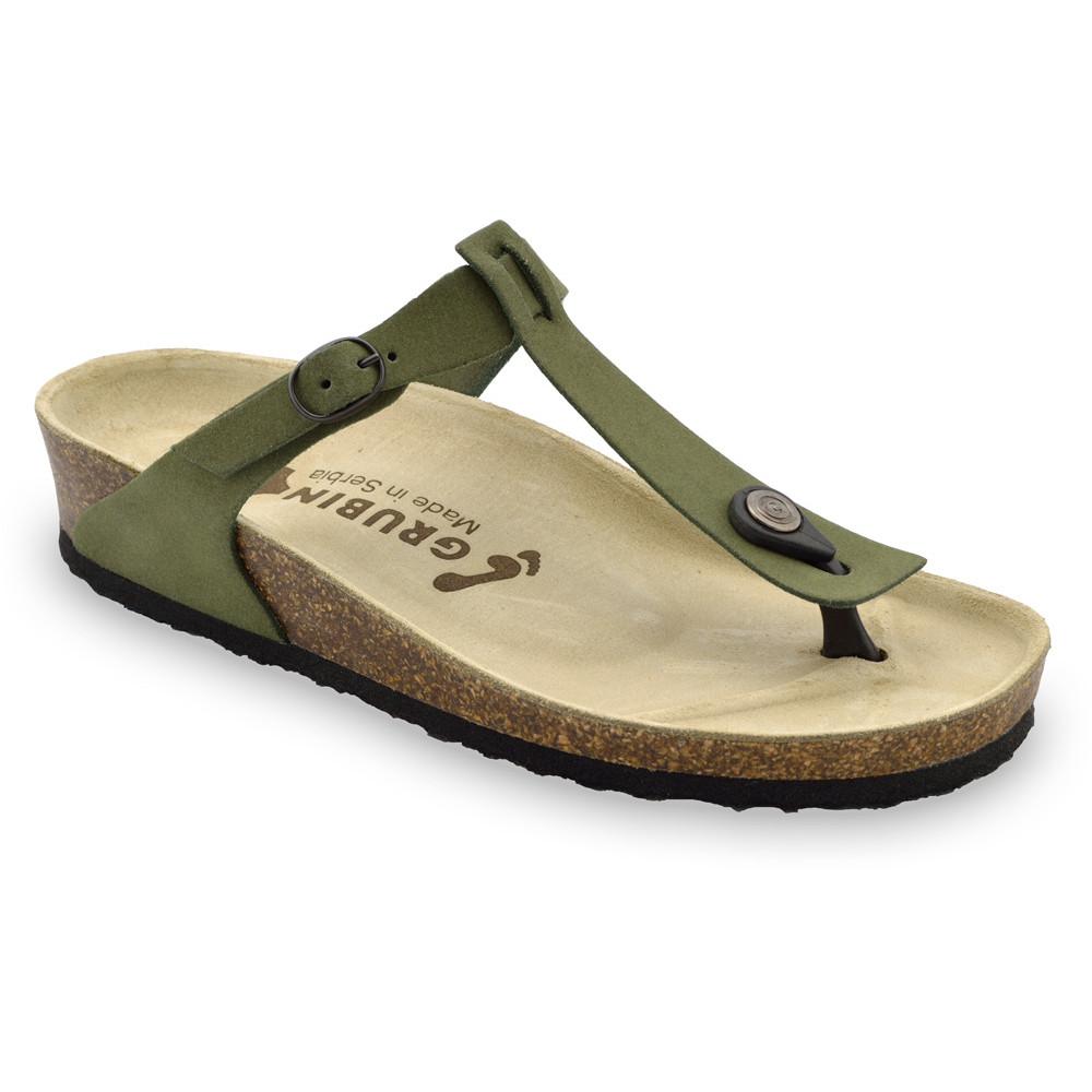MICADO Women's leather flip flops (36-42) - green, 42