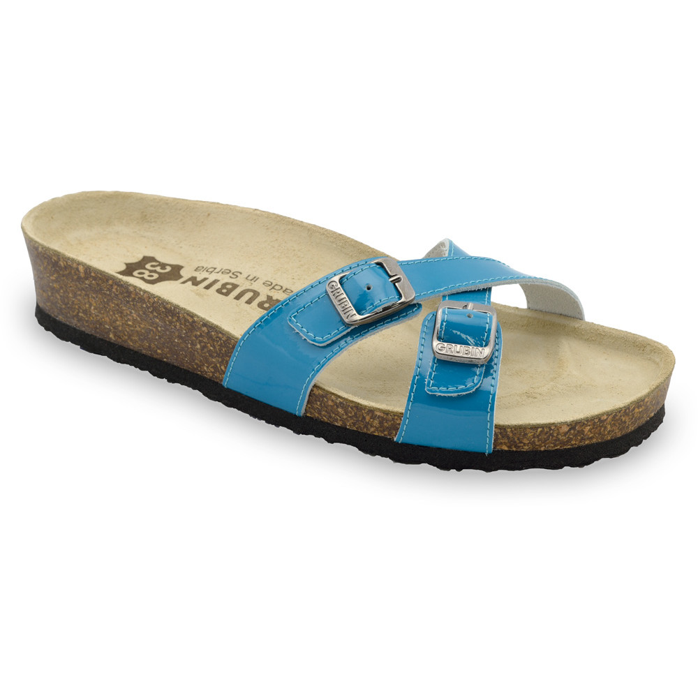 MODENA Women's leather slippers (36-42) - blue, 41