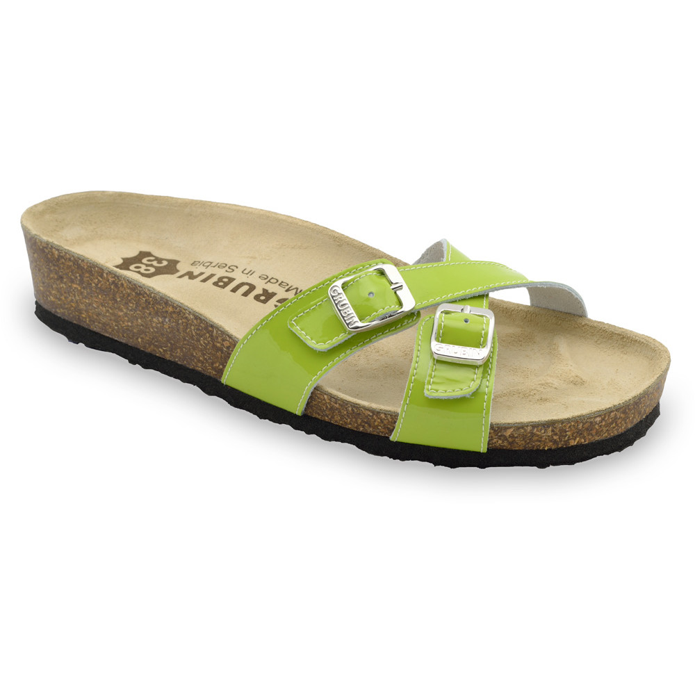 MODENA Women's leather slippers (36-42) - green, 42