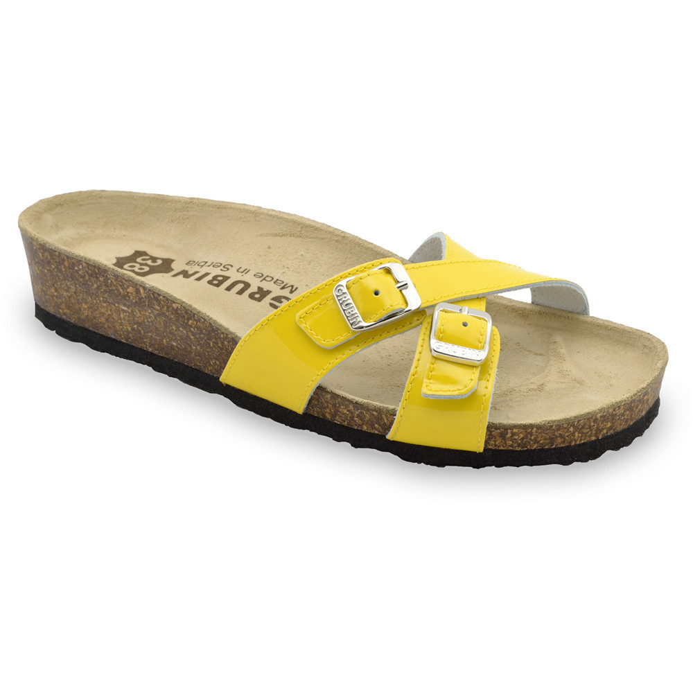MODENA Women's leather slippers (36-42) - yellow, 40