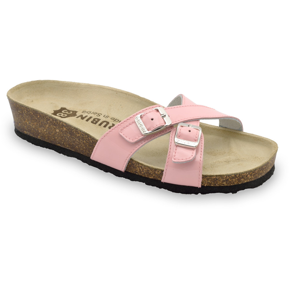 MODENA Women's leather slippers (36-42) - light pink, 42