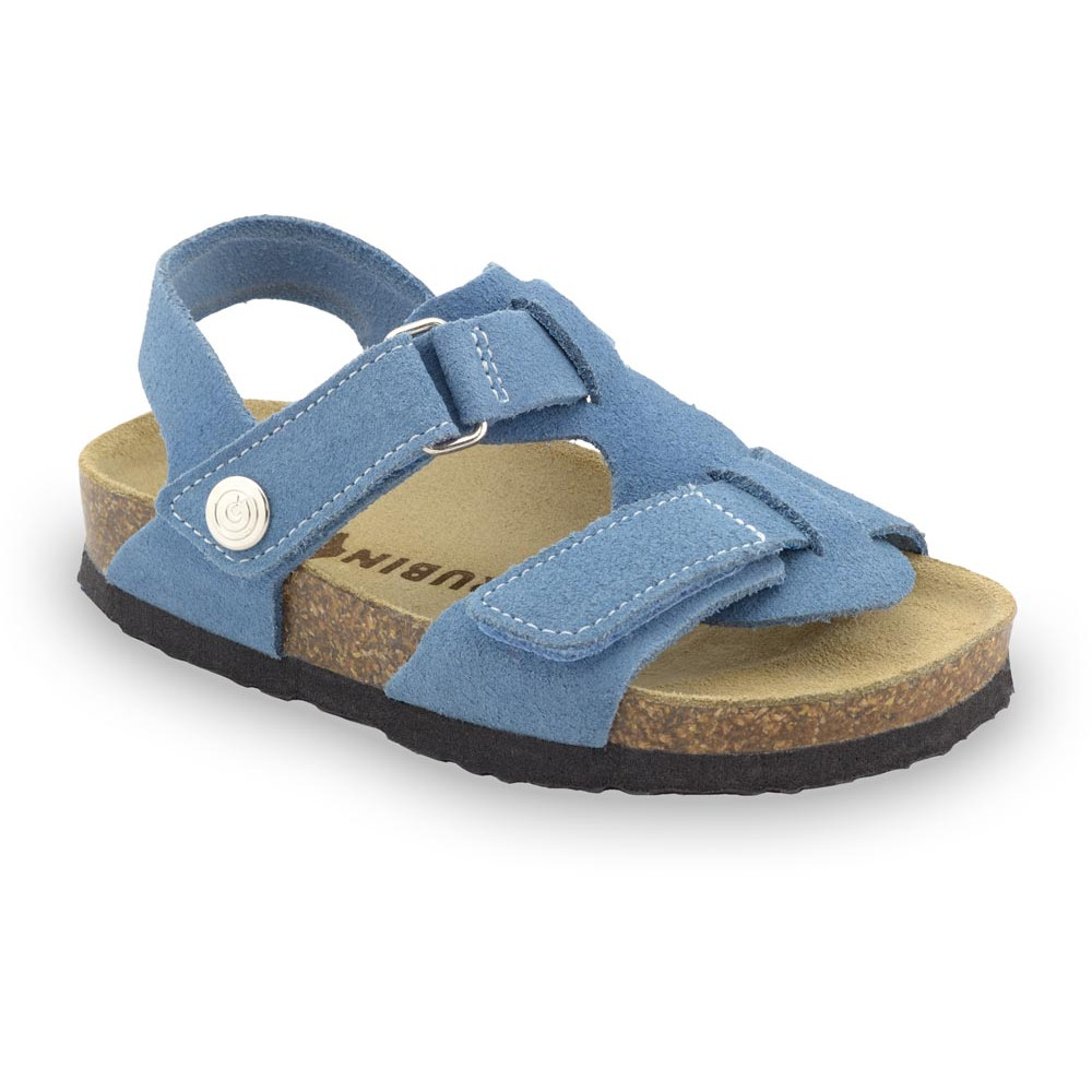 ROTONDA Kids - velor leather sandals (23-29) - light blue, 25