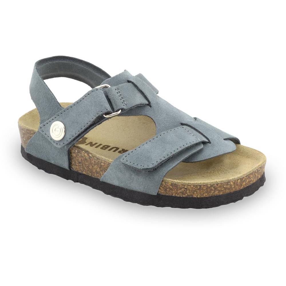 ROTONDA Kids - velor leather sandals (23-29) - grey, 27