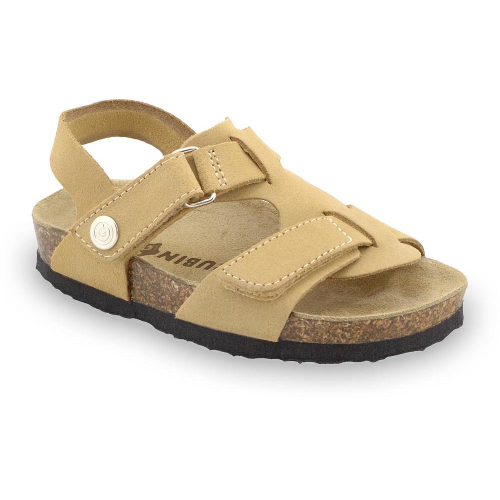 ROTONDA Kids - velor leather sandals (23-29) - light brown, 27