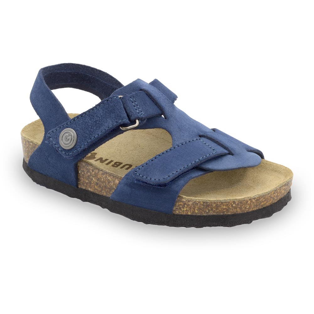 ROTONDA Kids - velor leather sandals (30-35) - blue, 33